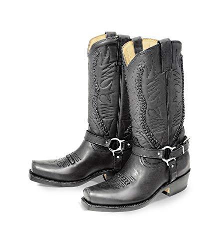 Rancho Biker Boot MEXICAN schwarz - Stiefel / Cowboystiefel - Outdoor, Freizeit und Motorrad - PRIME Versand, Farbe:Schwarz;Größe:EU 40