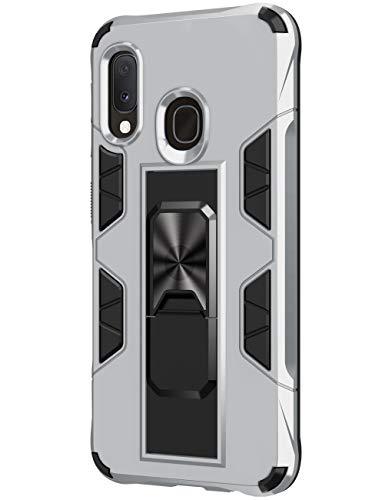 SharSon - Funda para Samsung Galaxy A20E, con soporte invisible, resistente a los golpes, soporte magnético Beige plata