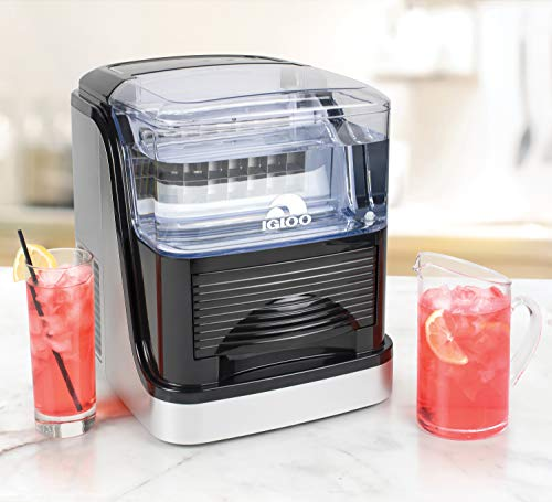 Igloo ICEC33SB 33-Pound Large Capacity Automatic Portable Countertop Clear Ice Cube Maker, Black