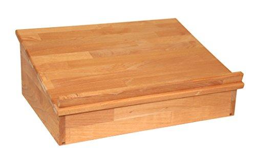 Klassisches, großes Tischpult zum Aufklappen mit Ablagefach, Lesepult Tischaufsatz aus Massivholz Buche, geölt, echtes Holz