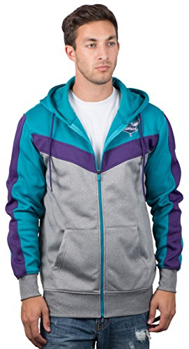 Ultra Game NBA Charlotte Hornets Mens Soft Fleece Full Zip Jacket Hoodie, Team Color, X-Large