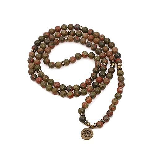 Pulsera de moda para mujer, cuentas de piedra natural con pulseras de envoltura con dije de loto en la mano, collar de 108 Mala, cuentas de 8MM