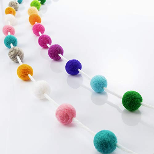 Blulu 2 Pieces 70 Balls 3 Meters Rainbow Felt Ball Garlands Baby Shower Grand Wool Pom Pom Garland for Party Festivals Wall Decoration
