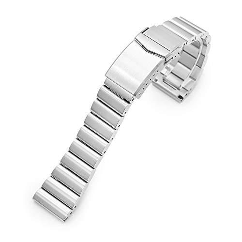 Correa para reloj de pulsera, 22 mm, acero inoxidable, 316L, extremo recto, hebilla en V cepillada