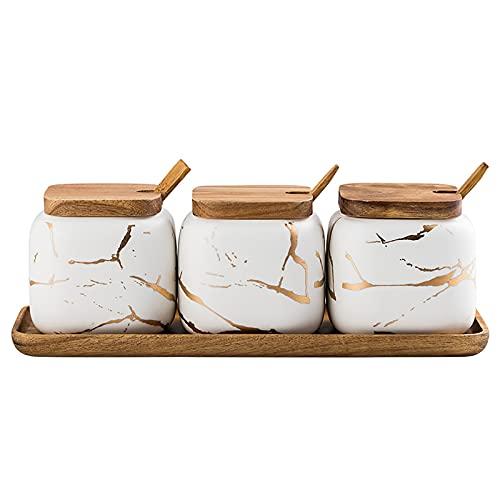 Ceramic Spice Jars Porcelain Condiment Jars Set Marble Ceramic Seasoning Box 3pcs Condiment Pots for salt, sugar, pepper Kitchen Ceramic Seasoning Condiment Jar Set