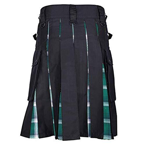 Fannyfuny Mittelalterliche Gothic Kostüm Herren Retro Viking Pirate Bottom Rock Hosen Krieger Kampfanzug Vintage Kilt Schottland Gothic Mode Kendo Taschenröcke Schottische Kleidung