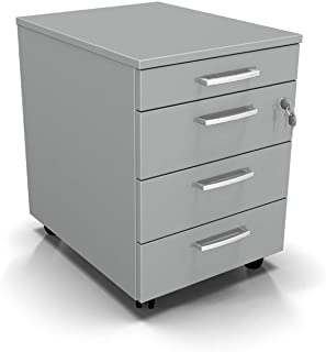 One Living Commode de bureau avec roulettes, table de chevet avec 3 tiroirs + 1 tiroir de rangement, armoire de bureau, mo...