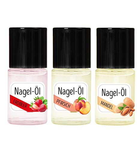 KM-Nails 3er Set Nagelöl Erdbeere+Pfirsich+Mandel ohne Paraffin