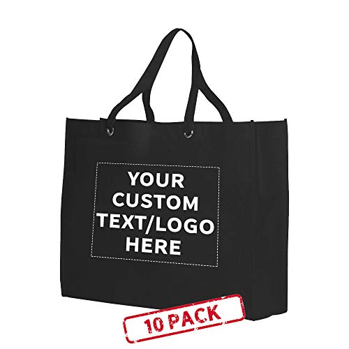 Shopping Tote Bags - 10 pack - Customizable Text, Logo - Non-woven Cloth Reinforced Totes - Reusable - Black