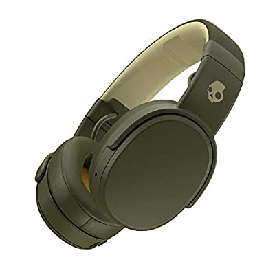 Skullcandy Crusher Bluetooth Wireless Over-Ear Headphone with Microphone, Noise Isolating Memory Foam, Adjustable and Immersive Stereo Haptic Bass, Rapid Charge 40-Hour Battery Life, Olive/Moss/Yellow from SKULLCANDY