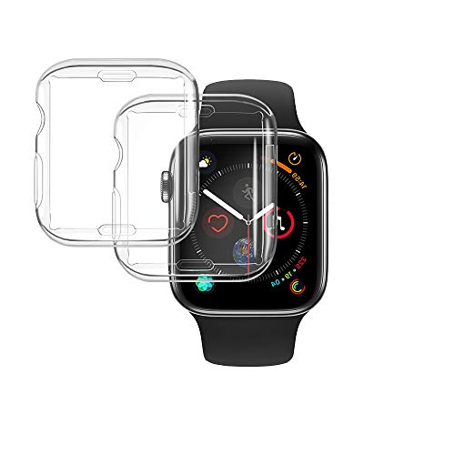 2 Pack Transparente Fundas Apple Watch 44mm Series 6/5/4/SE Protector Funda Anti-Rasguños Protector de Pantalla TPU Suave Ultra Protección Completa Carcasa para Nueva iWatch Series Funda Case
