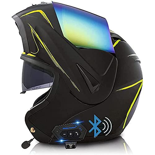 Bluetooth Integrado Casco de Moto Modular,Casco de Motocicleta Con Visera Solar Doble Certificado ECE Adulto Unisex Bluetooth Modulares Casco Moto T,M57~58cm