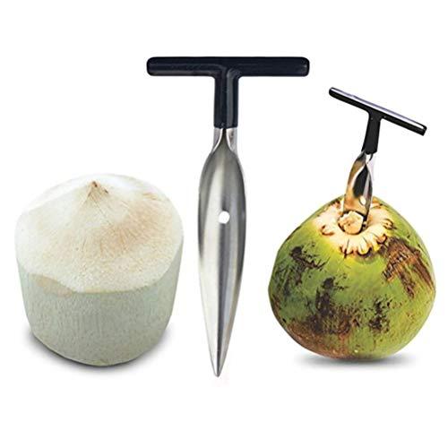 Wopohy Herramienta de apertura de coco, acero inoxidable, herramienta de extracción de coco y agua, para abrir botellas de coco verde fresco, fácil de abrir en segundos.