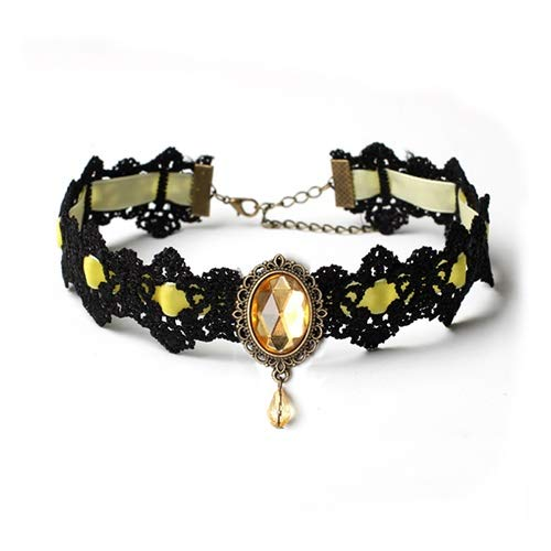 Dfgh Tattoo Choker ketting Vrouwen Vintage Zwart Rood Blauw Kristal Kettingen Gothic Punk Collar Choker Jewelry (Metal Color : Yellow)