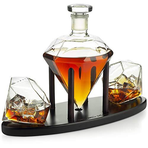 The Wine Savant Diamond Whiskey Decanter l With 2 Diamond Glasses Liquor, Scotch, Rum, Bourbon, Vodka, Tequila Decanter
