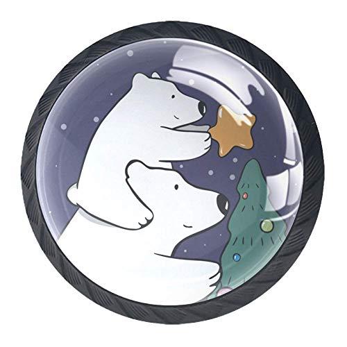 TIZORAX Schubladenknöpfe Eisbär Mutter und Baby dekorieren Weihnachtsbaum rund Küche Schrank Schrank Kommode Tür Home Decor 4 Packungen