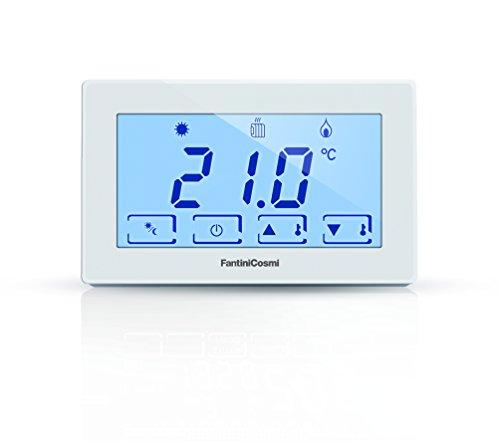 Fantini Cosmi CH120 Termostato Ambiente a Batterie con Touchscreen Retroilluminato, Bianco, Alimentazione