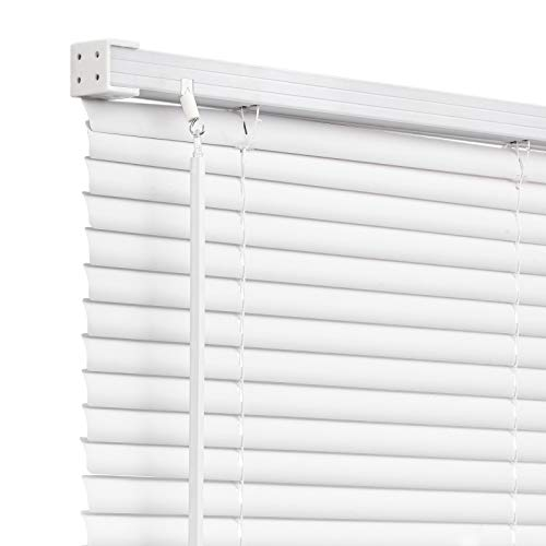 """Changshade Cordless 1"""" Vinyl Horizontal Blind with Tilt Wand for Windows and Doors Light Filtering Venetian Window Blind 25 inches Wide White BLD25WT64A"""