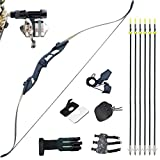 D&Q Archery Takedown Recurve Bow and Bowfishing Kit 30 35 40 45 50 lb Longbow Complete Set for Outdoor Hunting Fishing Shooting with Fishing Seat Arrows & Reels Right Handed Black Camouflage