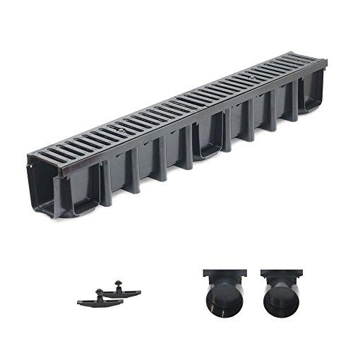 1m Entwässerungsrinne Tiefe 148mm Belastungsklasse C250, Gußrost komplett SET (schwarz)