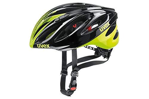 Uvex Boss Race Casco Ciclismo, Unisex Adulto, Negro/Amarillo Neon, 55-60