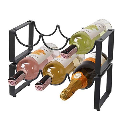 UMI. by Amazon 2 Tier 6 Flaschen Weinregal Metall, Freistehende Wein Rack Flaschenregal für Hauptdekorationen Schrank Arbeitsplatte, Schwarz