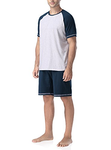 Genuwin Herren Zweiteiliger Schlafanzug Kurz Pyjama aus Baumwolle-Kurzarm Shirt & Shorts, 1 Set (L, Dunkelblau)