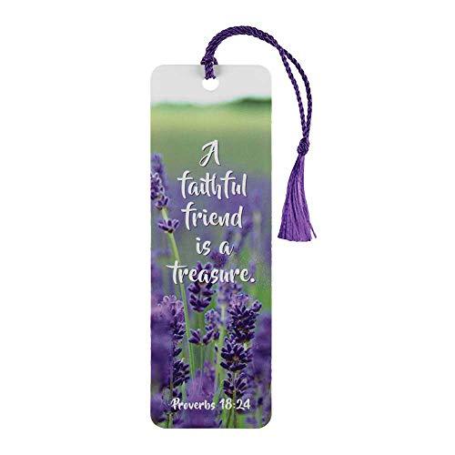 Etiquetas de marcador de livro Faithful Friend is Treasure Lavender, embalagem com 12