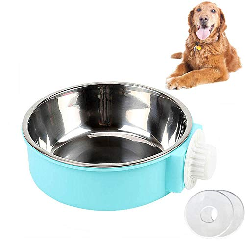 Cuenco Colgante 2 en 1 Extraíble de Acero Inoxidable Para Alimentos Para Perros y Gatos, Cuenco Colgante Mediano Para Jaula (18 cm)