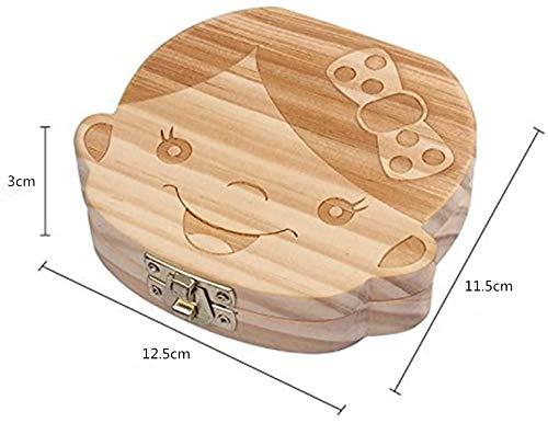 ALSKY 木製 乳歯ケース,男の子/女の子 ベビートゥース 子供 歯 収納 誕生日 記念品 (男の子)(12.5*11.5*3cm)