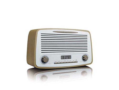 Lenco DAR-012 Retro-Digitalradio mit Bluetooth - DAB+ und UKW/FM Radio Empfänger - 2 x 5 Watt RMS - Uhr und Weckfunktion - Teleskopantenne - AUX-Eingang - taupe