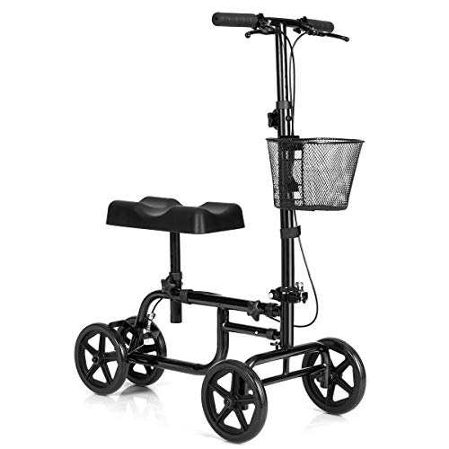 Giantex Steerable Lightweight Knee Scooter, Foldable All Terrain Knee Walker with Basket, Dual Brakes, Scooter for Foot Ankle Injuries, Crutches Alternative, Support up to 300 (Black)