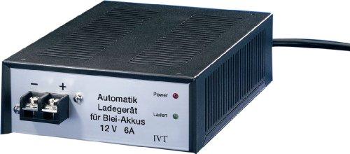 IVT 900012 Automatik Ladegerät für Blei-Akkus 12V 6A mit Überlast-, Kurzschluss- und Verpolungsschutz