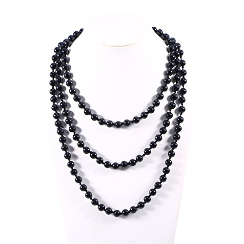 LUOEM Pearl Bead Necklaces 60' Fashion Faux Pearls Long Pearl Necklace (Black)
