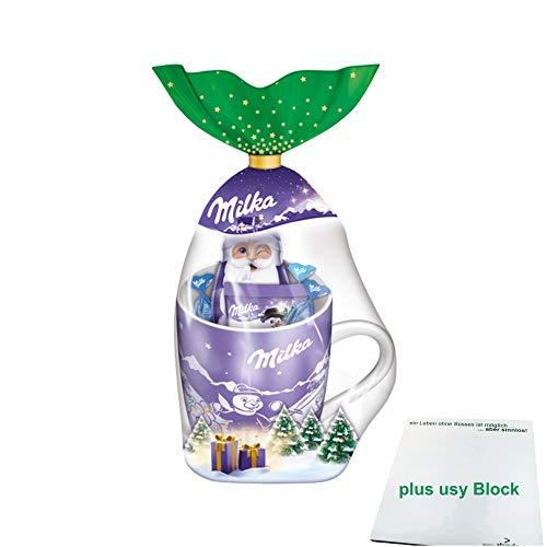 Milka Weihnachtsbecher 2020 die beliebte Milka Tasse (95g Inhalt) + usy Block