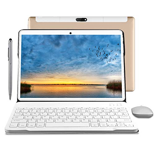 Tablet 10.1 Inch, Android 9.0 Pie Quad-Coree Tablet+Keyboard with 4GB RAM 64GB ROM,1920 x 1200 IPS HD Display,4G WiFi 5MP and 8MP Cameras(Golden)