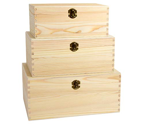 Holzboxen - Set mit Deckel Holzkisten Aufbewahrungsboxen in verschiedenen Größen 238mm x 103mm x 144mm - 300mm x 144mm x 203mm (3er Holzbox Set (3-5))