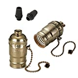 Onite 2 PCS UL Listed E26 Type 1/8 inch Pipe Thread US-Standard Screw Basic Metal Lamp Socket with Pull Chain Switch (Bronze)