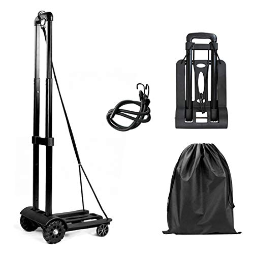 Folding Luggage Truck, Luggage Cart 65KG/130lbs Heavy Duty Utility Cart, Lightweight Collapsible Portable Fold Up Dolly for Luggage, Personal, Travel, Moving and Office Use