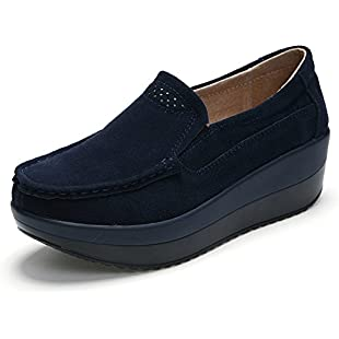 Customer reviews HKR HKR-GF828lanse39 Women Platform Loafers Flats Comfort Ladies Wedge Suede Moccasins Slip On Fashion Sneakers Shoes Blue UK 5