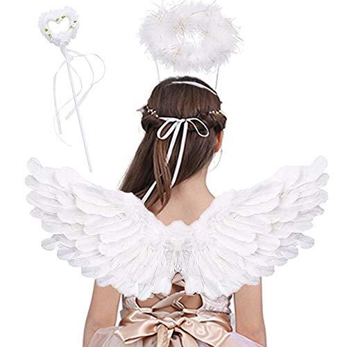 Jackcell Engels flügel Kostüm, Federn mit Heiligenschein und Zauberstab für Halloween Karneval Cosplay Party Fasching Kostüme (Weiß, Small)