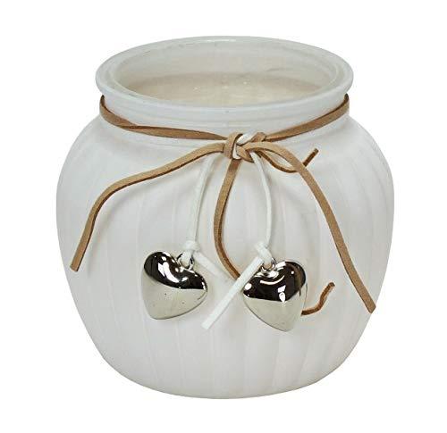 Windlicht aus Glas, Weiss mit Herzen Silber Farben Größe 11,5 x 10,5 cm Kerzenhalter Hochzeitsdeko Windlichter Hochzeit Dekoration Teelichthalter Nostalgie Vintage