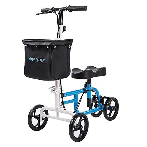 ELENKER Best Value Knee Walker Steerable Medical Scooter Crutch Alternative with Dual Braking System Blue+White