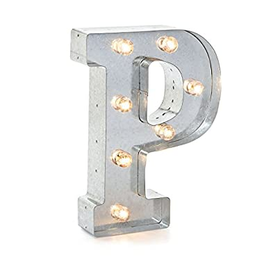 Darice Silver Metal Marquee Letter P – Industrial, Vintage Style Light Up Letter Includes an On/Off Switch, Perfect for Events or Home Décor (5915-717)