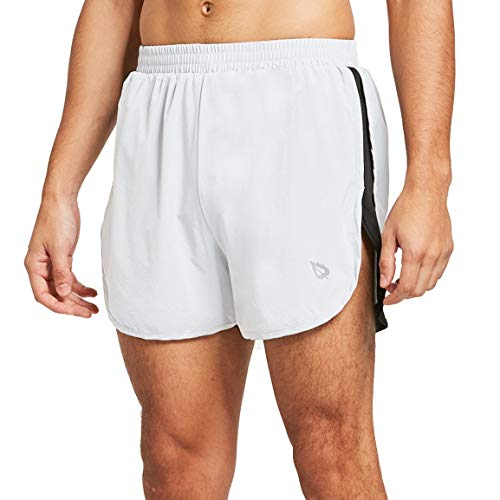 BALEAF Men's 3 Inches Running Shorts Reflective Gym Athletic Shorts White Size S