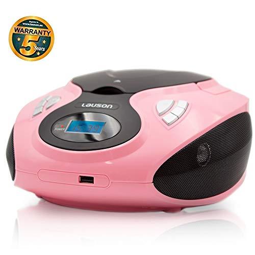 LAUSON MX16 CD-Player | MP3 USB | Cd-Player Ideale Kinder | Boombox Tragbar | CD-Radio Mädchen | UKW Radiotuner | AUX-In | CD/CD-R | Netz & Batterie | 3.5 Kopfhörer-anschluss (Pink)