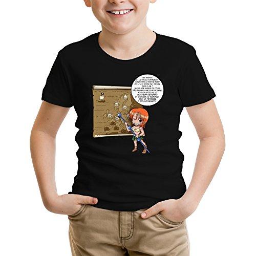 T-Shirt Enfant Noir One Piece parodique Nami : Les prévisions de Météo Pirate pour Le Prochain épisode ! (Parodie One Piece)