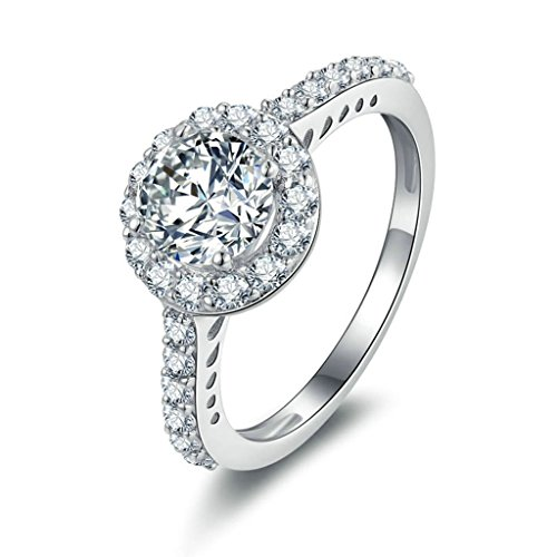 Daesar Silberring Damen Ring Silber Ehering für Damen Verlobungsring Benutzerdefinierte Ring Runde Strass Ring Größe:57 (18.1)