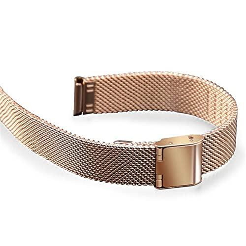 WGDPMGM Correa Reloj Correa de Acero Inoxidable Rose Gold 14mm Malla de Reloj de Reloj para la Banda de Reloj Delgada Correa de Metal (Band Color : Rose Gold, Band Width : 14mm)