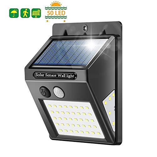 Solarleuchten für Außen, Banral 50LED solarlampen für Außen mit Bewegungsmelder 270° Superhelle Solarleuchte, Sicherheitswandleuchte 3 Modi IP65 Wasserdichte Wandleuchte für außen Garten